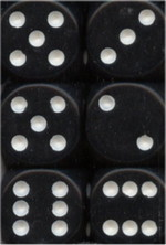 TERNINGER - D6 SÆT - OPAQUE - Black/White (12)