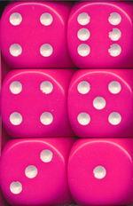 TERNINGER - D6 SÆT - OPAQUE - Pink/White (12)