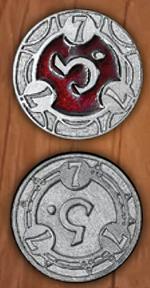 LEGENDARY COINS - RPG SPELL TOKEN - RPG Spell Token Red 7 (1stk)