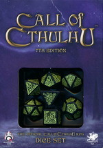 TERNINGER - CALL OF CTHULHU LIMITED - Call of Cthulhu Black/Green 7th Edition Dice Set (7)