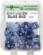 TERNINGER - DIFFUSION - Blue Ink with White Numbers - Set of 7